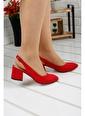 Ayakland Ayakland 97544-307 Süet 5 Cm Topuk Bayan Sandalet Ayakkabı Kırmızı